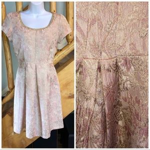 Polo 1988 Vintage Style Party Dress Pink Brocade
